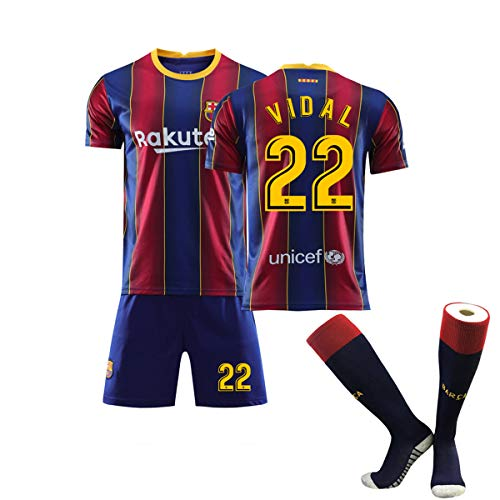 ZGDGG FC Ba-rce-lon Team Set T-Shirt Logo 2020-21, T-Shirt and Pants Set,Vidal 22 Home,XS