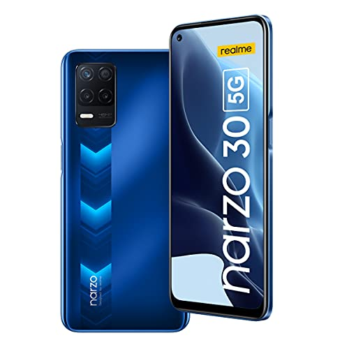 "Realme Narzo 30 5G Smartphone 6.5"" Fluid Display 90Hz Grande Batteria 5000mAh RAM 4GB ROM 128GB Espandibile Storage 48MP AI Triple Camera Dual SIM NFC Android 11 (Blu)"