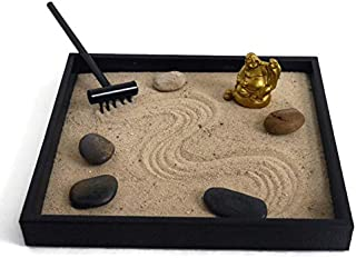Gold Statue Handmade Zen Garden Desktop Relaxation Gifts for Office Decor - Soothing Decor Meditation Tools for Desk