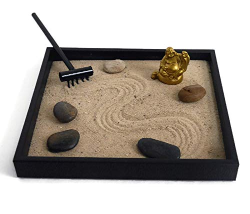 Gold Statue Handmade Zen Garden Desktop Relaxation Gifts for Office Decor - Soothing Decor Meditation Tools for Desk
