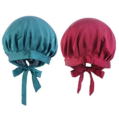 Minkissy 2 Pzas Gorra de Dormir de Satén para El Cabello Sombrero de Noche con Cinta Ajustable para Maquillaje