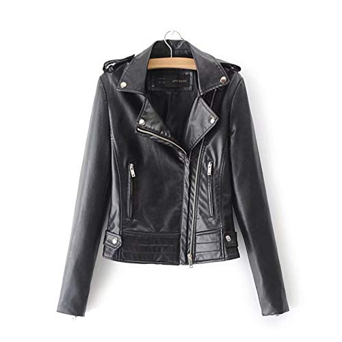 Yuquanxin Frauen-Motorrad Reißverschlusstasche PU-Haut Revers Motorrad-Lederjacke Gehen Standard-Warm-up (Color : Black, Size : XL)