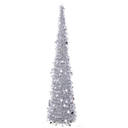 5FT Christmas Tree Tinsel Pop Up Christmas Tree Collapsible Christmas Tree with Plump Shiny Sequins Reusable Xmas Tree for Holiday Home Office Store Decorations, Silver