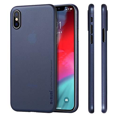 memumi Compatible con iPhone XS Funda, Ultra Slim 0.3 mm Anti-Rasguño y Resistente Huellas Funda para iPhone XS 5.8' (2018) Thin Case Azul Transparente