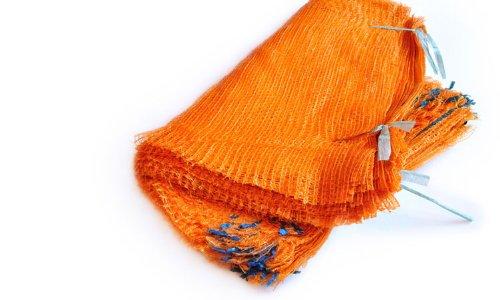 100 Sacs filets orange 42 cm x 60 cm 15 kg avec cordon de serrage Raschel Sacs en maille filet Légumes Bois