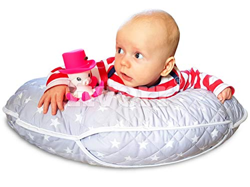 Deluxe Nursing Pillow, Spring Offer, Unique 4 in 1 Soft, Quilted with Baby Harness + Free Mini Pillow and (Silver)