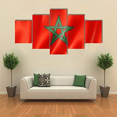 ARIE 5 Teiliges Wandbild Marokko Flagge Hd Gedruckt 5 Stücke Leinwand Malerei Wandkunst Wohnzimmer Wohnkultur Weihnachten Kreative Geschenke