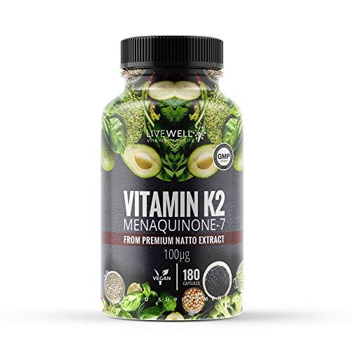 Vitamin K2 (MK-7) Menaquinone 180 Capsules (not Tablets) | Suitable for Vegans & Vegetarians | Helps Maintain Normal Bones (180 Capsules)