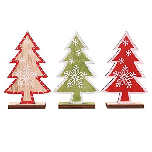 SUPVOX - Set di 3 tavolini da scrivania in legno, decorati, per feste natalizie