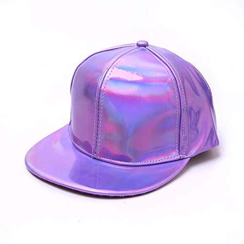 YIERJIU Gorra Gorras Beisbol Nueva Gorra de béisbol de Moda para Hombre, Sombreros de Hip-Hop de Lujo para Mujer, Sombreros de Cuero con Cambio de Color arcoíris, Gorras de Color Fluorescente,Purple