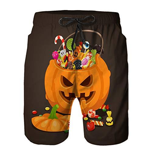Benle Pantaloncini da Surf da Uomo,Caramelle di Halloween Zucca Borsa Dolce Lecca-Lecca,Costume da Bagno con Fodera in Rete ad Asciugatura Rapida S