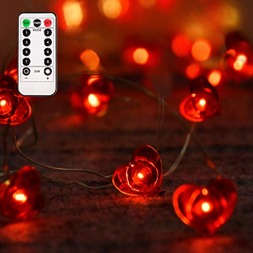 Aetegit 16 Ft 50 LED Lights Valentines Day Decorations with Remote,Red Heart Shaped Twinkle Fairy String Lights Battery Operated for Valentine's Day Wedding Anniversary Mother's Day Party Decorating