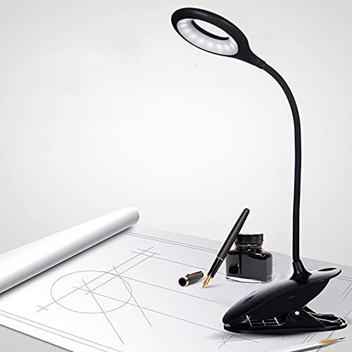Luz Lectura Lámpara de Escritorio LED Recargable 3W USB Lámpara LED con Pinza Clip en Luz de Lectura Anillo de Luz LED Luz de Cama Flexible de Cuello de Cisne de 360 ° Oficina (Color : Black)