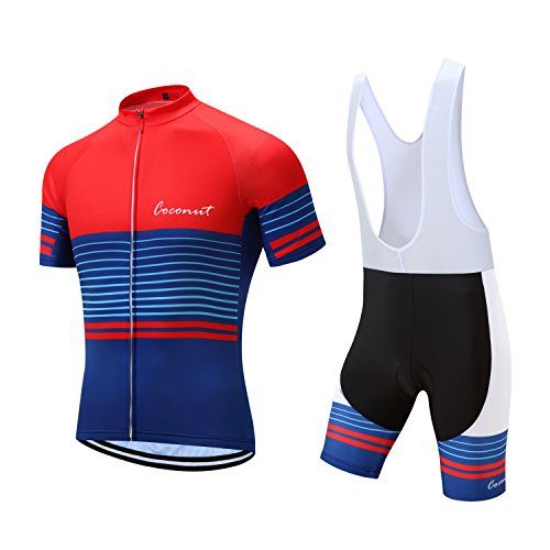 Men's Cycling Jersey Set Road Bike Jersye Short Sleeves Cycling Kits + Bib Shorts with 3D Padded (Large, Red/Blue)