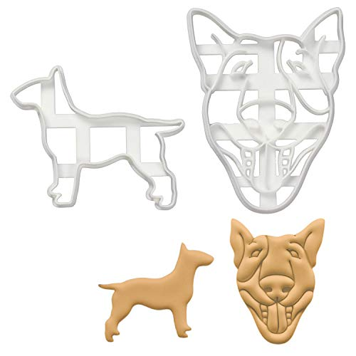Set of 2 English Bull Terrier cookie cutters (Designs: English Bull Terrier Silhouette and English Bull Terrier Face), 2 pieces - Bakerlogy