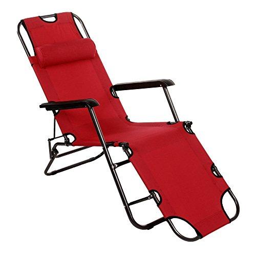 Ultrey Tumbona plegable sillas de jardín tumbona jardín Balcón–Silla plegable regulable con almohada 160kg, rojo