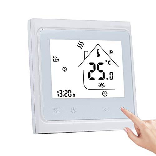 Dioche Termostatos de WiFi para el hogar, Pantalla táctil LCD Profesional Termostato Inteligente Controlador de Temperatura Ambiente para calefacción de Piso eléctrica Blanco