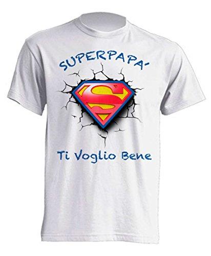 Mister Patch – Camiseta idea de regalo para Super papá – Super mamá, para cumpleaños, día del padre y de la madre – Ideal para regalo a los hijos Super Papà L