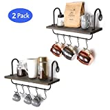Olakee Floating Wall Shelves for Kitchen Bathroom Coffee Nook with 10 Adjustable Hooks for Mugs Cooking Utensils or Towel Rustic Storage Shelves Set of 2/17x5.9 inch (Weathered Grey)