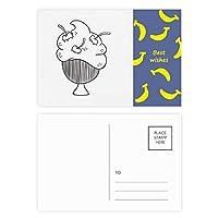 黒い線の桜のカップアイスクリーム バナナのポストカードセットサンクスカード郵送側20個
