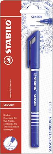 Fineliner mit gefederter Spitze fein blau 10er Pack STABILO SENSOR F