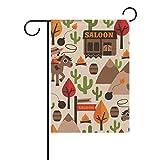 FAJRO niedliche Cowboy-Flagge, Gartenflagge für Garten, doppelseitig, Polyester, 1, 12x18(in)