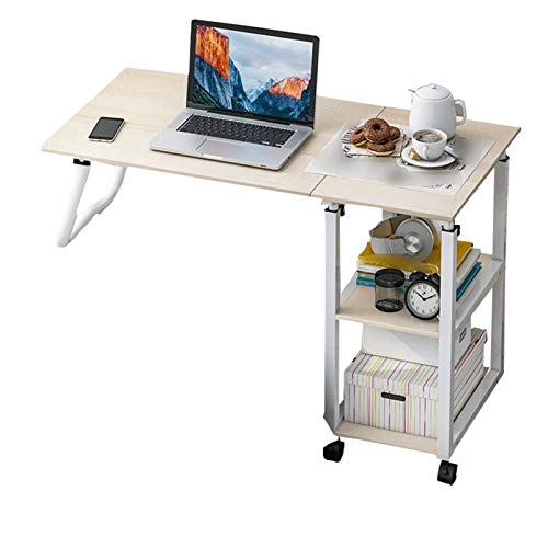 Overbed Table Laptop Bed Computer Bedside Notebook Stand Tabletop SofaCouch Bed Side Reading Table Stand Tray Angle Height With Wheels (Color : B)