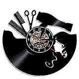 Peluquería Reloj de Pared con Disco de Vinilo-Salón de Belleza Peluquería Regalos Salón Reloj de Pared Personalizado LED 7 Colores Moda Reloj de Pared Simple (Color : No EDL, Size : B11)