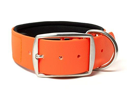 Mystique® Biothane Halsband Deluxe Neopren 38mm rostfrei neon orange 40-48cm