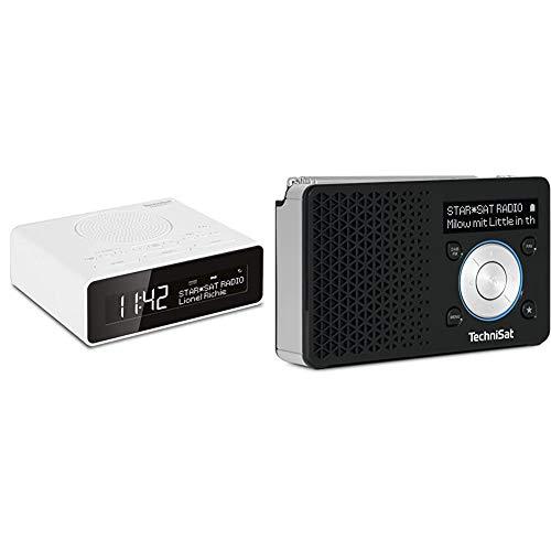 TechniSat Digitradio 51 DAB+ Radiowecker (DAB, UKW, Uhrenradio, Wecker mit Zwei einstellbaren Weckzeiten weiß & DIGITRADIO 1 – tragbares DAB+ Radio mit Akku (DAB, UKW, Lautsprecher) schwarz/Silber