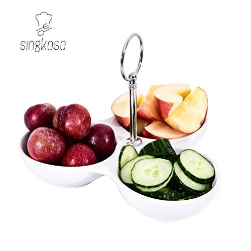 Singkasa 3-teiliges Serviertablett aus Porzellan, modernes Serviertablett für Partys, Servierschalen für Partys mit Halterung, Dipschalen für Snacks, Relish-Tablett für Unterhaltung, 20 x 15 cm, Weiß