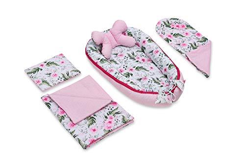 Jukki Juego básico para bebé de 5 piezas: nido para bebé, 50 x 90 cm, cojín de lactancia, manta de bebé, almohada, cuna para bebé, 100% algodón, cuna de viaje, colchón