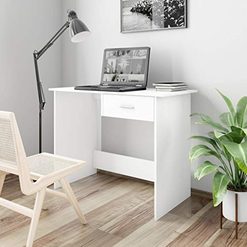 vidaXL Escritorio de Aglomerado Casa Hogar Bricolaje Decoración Diseño Estilo Mobiliario Mueble Mesa Buró Pupitre Estudio Oficina 100x50x76 cm Blanco
