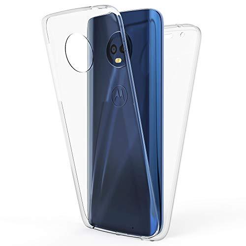 NALIA 360 Grad Handyhülle kompatibel mit Motorola Moto G6 Plus, Full-Cover Silikon Bumper mit Bildschirmschutz vorne Hardcase hinten, R&um Hülle Doppel-Schutz Dünn Ganzkörper Hülle, Farbe:Transparent