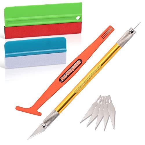 Ehdis Kit de Raclettes Accessoires Voiture, avec raclette en feutre, couteau pour passe-temps pour Application ou Raclage avec Cutter et Raclettes plastique