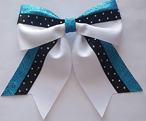 Trust Turquoise Silver and Black Softball Bow Hair Ranking TOP12