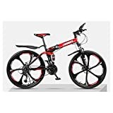 Unbekannt Berg Faltrad, 26 Zoll, Mountainbike, 24-Gang Getriebe, Doppelaufhebung, Kinder Fahrrad, Jungen Und Mädchen Fahrrad,Schwarz