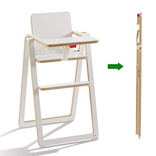 Supaflat klappbarer, stabiler Kinder-Hochstuhl aus Holz mit Tisch, Sitzgelegenheit für Kleinkinder am Ess-Tisch, Kinder-Stuhl aus nachhaltigem Buchenholz, modernes Möbelstück in Weiß