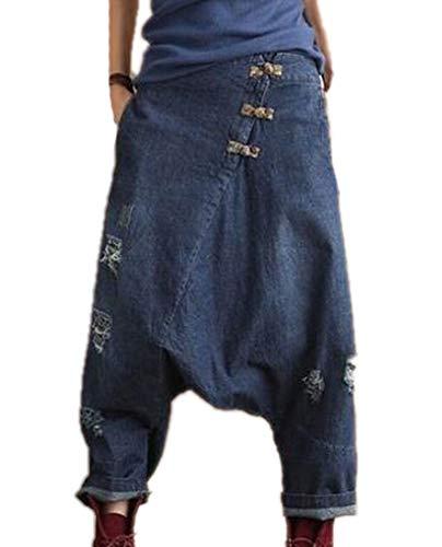 Damen-Jeanshose - Casual Drop Crotch Jeans Hose Harem Jeans Jeanshose Hip-Hop-Hose