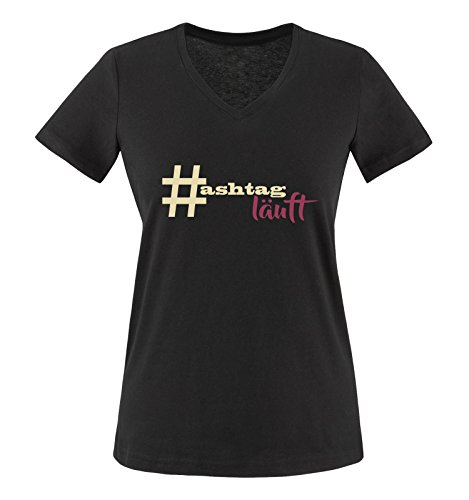 Comedy Shirts - # Hastag läuft - Damen V-Neck T-Shirt - Schwarz/Beige-Fuchsia Gr. XL