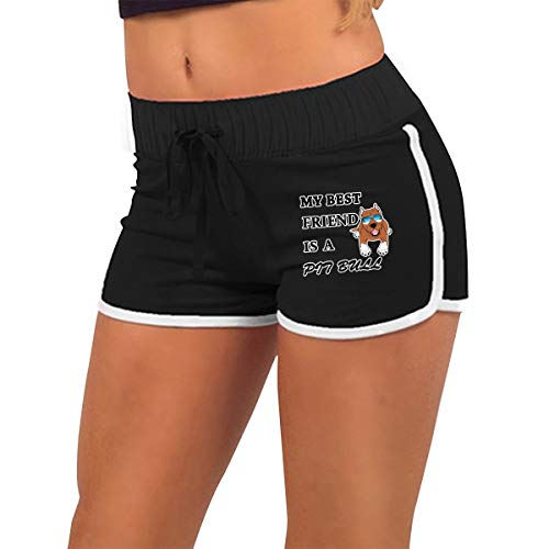 My Best Friend is A Pit Bull Women's Running Workout Booty Yoga Fitness Sports Club Shorts Hot Pants