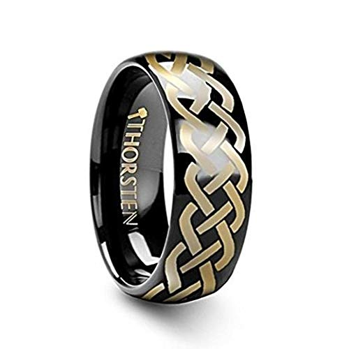 IDASON Celtic Knot Design Print Pattern Ring Engraved Domed Shape Black Tungsten Ring - 4mm Wide Band with Free Custom Engraving Personalized by