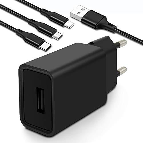 Adattatore USB con cavo 3 in 1, adattatore per settore USB 5 V 2 A, adattatore di ricarica da viaggio per iPhone Samsung Galaxy Huawei Xiaomi LG Smartphone Telefono cellulare Tablet PC