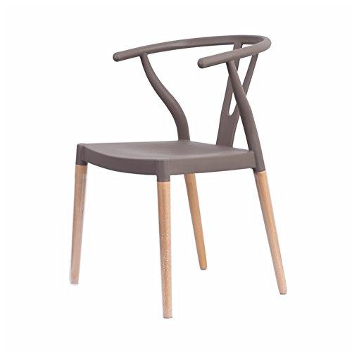 JZs HOCKER Massivholz-beiläufiger Esszimmer-Stuhl-Plastik Y-Stuhl-Wishbone-Stuhl mit der Rückenlehne einfach zu säubern einfache Versammlung 45 * 50 * 78cm (Farbe : Gray)