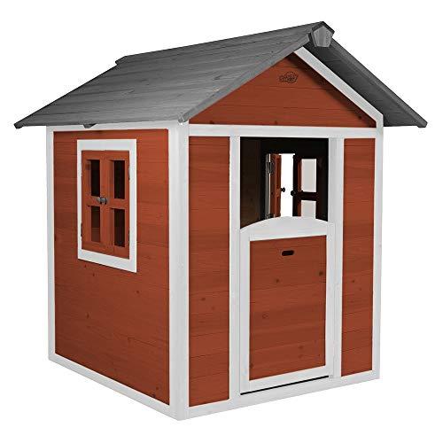 Beauty.Scouts Holzspielhaus Sun 102x94x133cm aus Zedernholz in rot-weiß Kinder Spielhaus Kinderspielhaus modern Spitzdach Schwedenhaus Stil gemütlich
