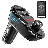 AGPTEK Transmetteur FM Bluetooth Adaptateur Autoradio Kit Voiture Main-Libre, Chargeur Allume Cigare Double Port USB 5V/2.1A et Port Audio 3,5mm, Localisateur GPS, Musique Contrôle pour Andriod/iPhone