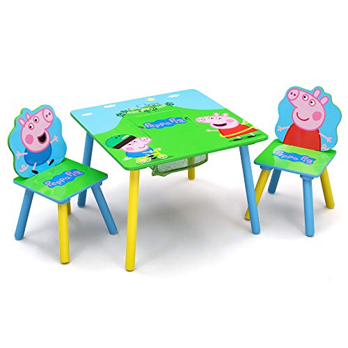 Delta Children Kids Table and Chair Set With Storage (2 Chairs Included) - Ideal for Arts & Crafts, Snack Time, Homeschooling, Homework & More, Peppa Pig