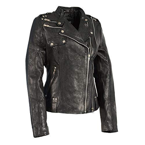 Milwaukee Leather SFL2845 Ladies Black Leather Moto Jacket with Asymmetrical Zipper - 5X-Large
