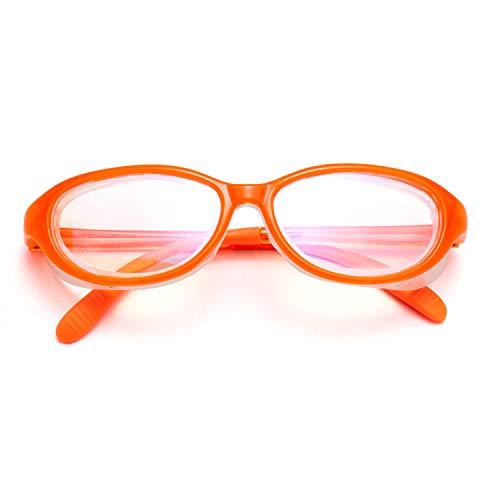 LianSan Kids Soft Safety Glasses Anti-Saliva UV410 Protection HD Blue Light Blocking Goggles for Boys Girls Blue Orange