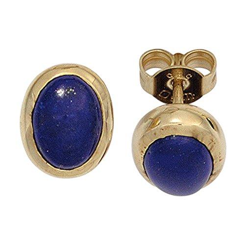 Jobo studs 585 oro amarillo 2 azul lapislázuli pendientes